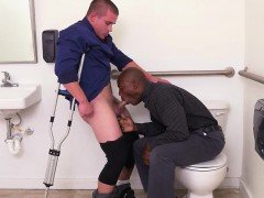 Deepthroating office stud banged by his boss