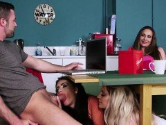 CFNM babes sucking cock under the table