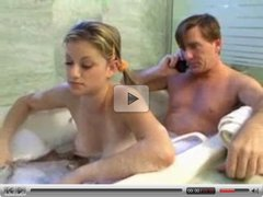 Teen Girl and daddy have fun in the bath