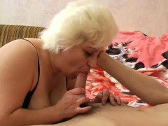 Blonde mature with natural big boobs sucks and fucks