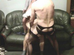 Mature blonde in rough black gangbang