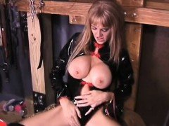 Hot sweetheart gives a footjob while fingering herself