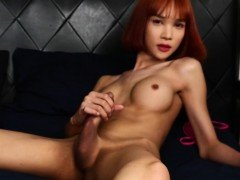Redhead ladyboy beauty solo pulling hard cock