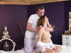 hot brunette slut fuck on a massage table