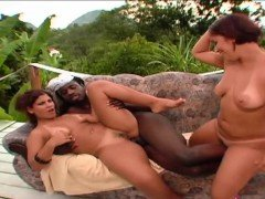 Outdoors black cock sucking with horny girls