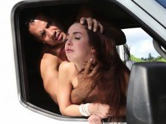 Skinny redhead teen babe gets fucked rough in the van