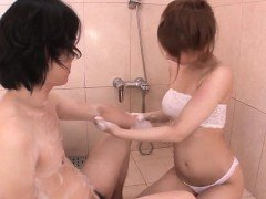 Tiara Ayase works dick in the bathroom while on cam