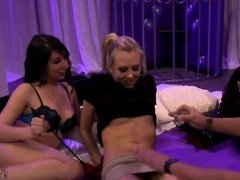 Hot jail cell foursome with horny swinger couples