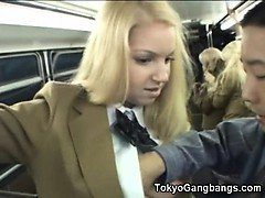 Schoolgirl Gets Cum Her Skirt in a Bus!
