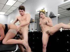 One Guy Drilling Two Old Fashioned Hotties In A Salon Chair