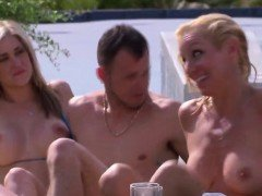 Crazy poolside orgy with horny swinger couples