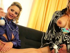 Lesbo gets pants stuffed in throat and bawdy cleft rubbed