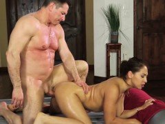 Sexy and oiled up chick gets her bosses big dick in her cunt