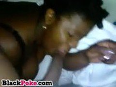 Ebony wife sucks hubbys black cock