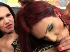 Redhead tranny fucks ass during a twosome
