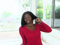 Ebony teen sucks and fucks white cock