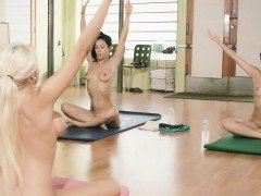Busty teacher yoga exercises while naked with two girls