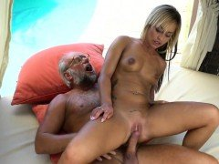 Teen babe banged by grandpa by the poolside