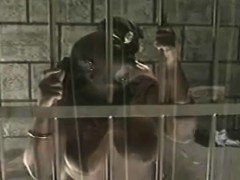 Curvaceous black beauty has a white guy banging her pussy behind bars