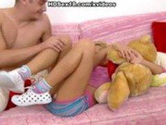 Amazing blonde plays with dildo and cock