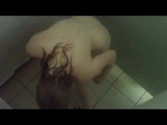 Cute teen caught shaving in the shower by a peeper