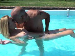 Lulu Love licked and sucks an old cock in pool before fucked