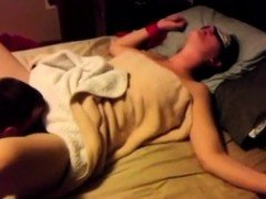 Cuckoliding wife is blindfolded and shared with a friend