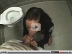 Brunette fuck in public Bathroom