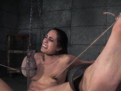 Restrained slut bigclit whipped by maledom
