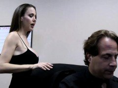 Handsome brunette milf blows a fat cock in the office