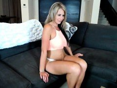 Big Titty Blonde MILF in Lingerie Plays Solo