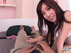 Seductive japanese hottie gets her titties licked and bonks