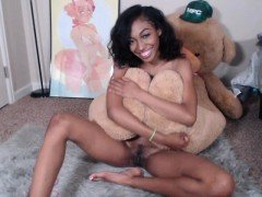Small breasted ebony teen gagging on a white dick