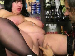 Huge titted barmaid gets fucked at work