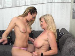 Hot lesbian daughter licks out her horny mom