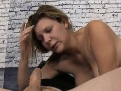Blonde Dirtbag Rough Face And Titty Fucking In Threesome