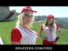 Busty blondes Kagney Linn Karter and Lylith Lavey share big-dick