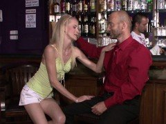 Old hubby watches his blonde wife rides another dick