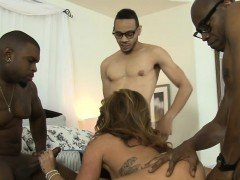 Hot woman pussy and asshole rammed by big black boners