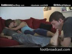 Bitch forces guy to workship her bf's feet