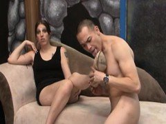 Glamcore tranny sucking dick passionately