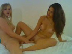 Two hot teens toying each other on webcam