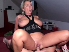 German Amateur MILF seduce to Fuck by two Stranger