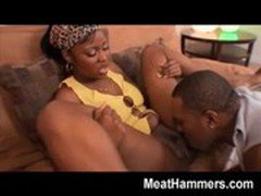 Ebony girl banging a big black cock