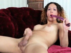 Trans woman teases and dildos herself solo