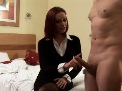 CFNM femdom tugs cock and spanks her sub
