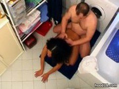 Ebony girl fucking in the bathroom