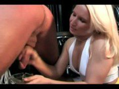 Blonde mistress spanking her man