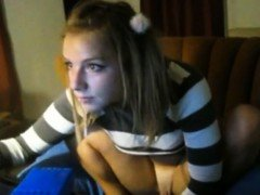 Solo pigtailed girl gets naughty on livecam