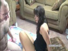 Sultry Bella in a black dress and getting banged